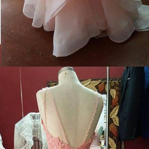 Pink Prom Dress,Beaded Prom Dress,Backless Prom Dress,Fashion Prom Dress,Sexy Party Dress, New Style Evening Dress