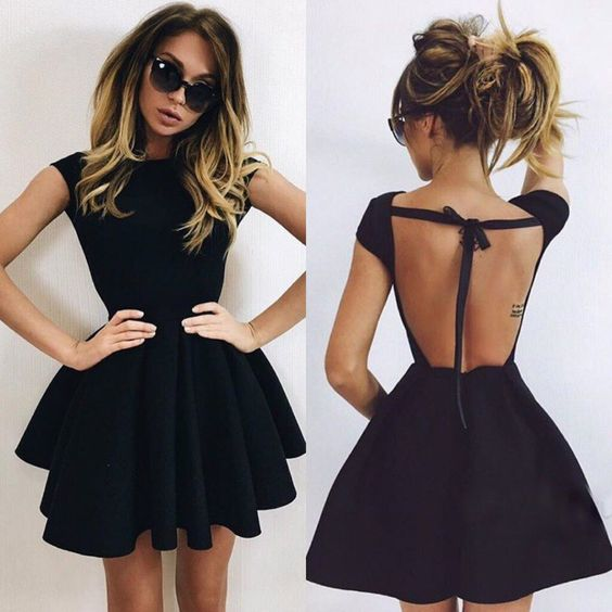 Backless Prom Dress,Black Prom Dress,Mini Prom Dress,Fashion Homecomig Dress,Sexy Party Dress, New Style Evening Dress