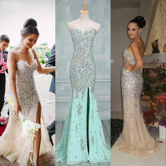 Beaded Prom Dress,Split Prom Dress,Mermaid Prom Dress,Fashion Prom Dress,Sexy Party Dress, New Style Evening Dress