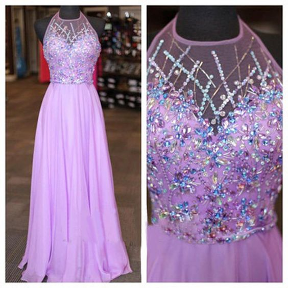 Halter Prom Dress,Beaded Prom Dress,Chiffon Prom Dress,Fashion Prom Dress,Sexy Party Dress, New Style Evening Dress