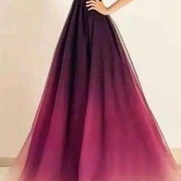 Gradient Prom DressBackless Prom Dress,A Line Prom Dress,Fashion Prom Dress,Sexy Party Dress, New Style Evening Dress