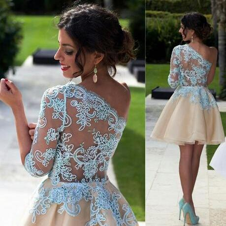 Charming Prom Dress,Lace Prom Dress,One Sleeve Prom Dress,Fashion Homecoming Dress,Sexy Party Dress, 2017 New Evening Dress