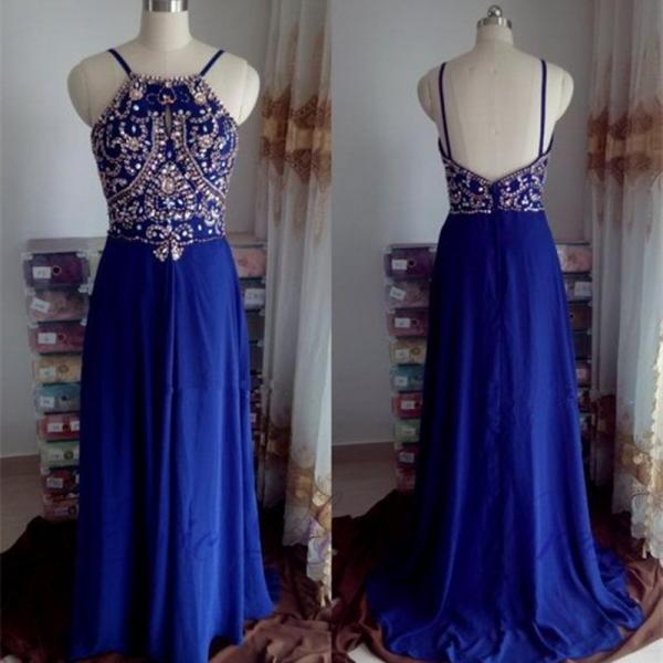 Royal Blue Prom Dress,Beaded Prom Dress,Backless Prom Dress,Fashion Prom Dress,Sexy Party Dress, New Style Evening Dress
