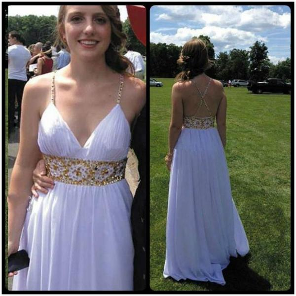Backless Prom Dress,Beaded Prom Dress,White Prom Dress,Fashion Prom Dress,Sexy Party Dress, New Style Evening Dress