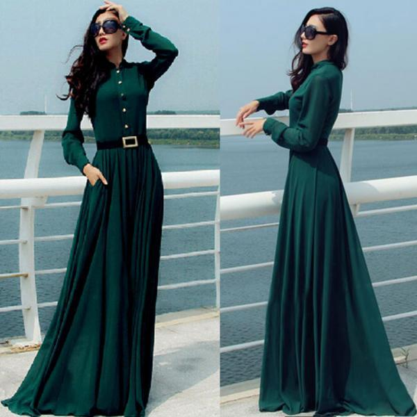 Dark Green Prom Dress,Long Sleeve Prom Dress,Fashion Prom Dress,Sexy Party Dress, New Style Evening Dress