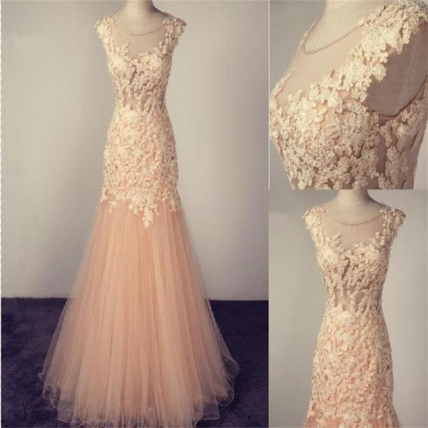 Scoop Prom Dress,Tulle Prom Dress With Lace Appliques,Fashion Prom Dress,Sexy Party Dress,Custom Made Evening Dress