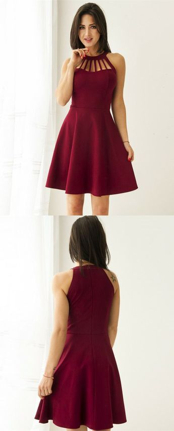 Burgundy Short Elegant Party Gowns Simple Fall Homecoming Dress