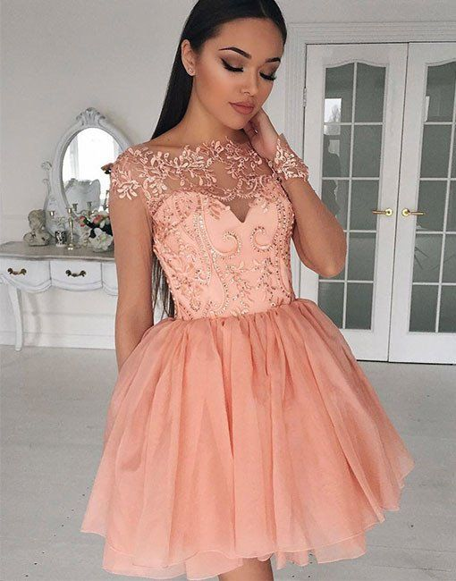 Blush Pink Homecoming Dresses,Applique Prom Dress,Fashion Homecoming ...